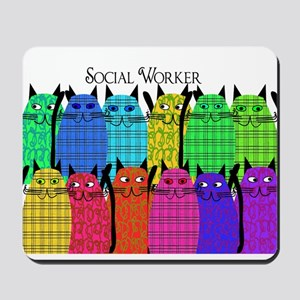 social worker cats horizi blanket Mousepad